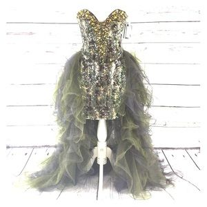 NEW Camo strapless Mac Duggal 50140M Prom Dress